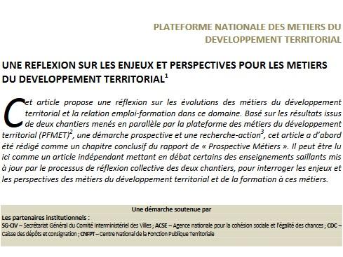 Une réflexion sur les enjeux et perspectives pour les métiers du développement territorial