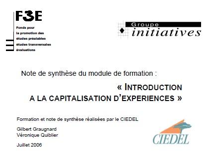 Note de synthèse issue d'une formation à la capitalisation d'expérience