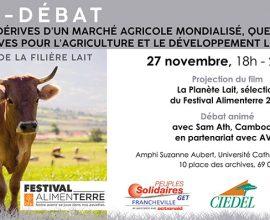 Le CIEDEL et Peuples Solidaires Francheville organisent un ciné-débat sur les dérives du marché mondial agricole et ses alternatives, le 27 novembre à Lyon
