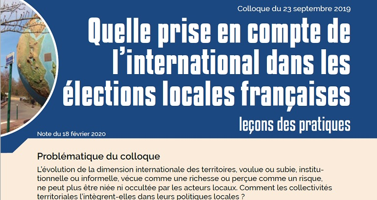 Prise en compte de l'international dans les élections locales françaises